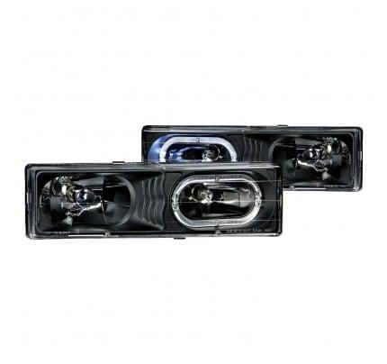 Anzo Euro Style Headlights - Black Halo - 111007