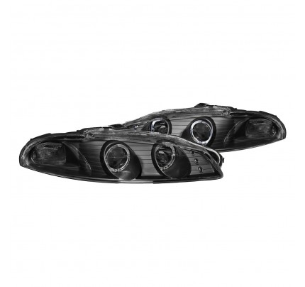 Anzo LED Headlights - Black Dual Halo Projector - 121365